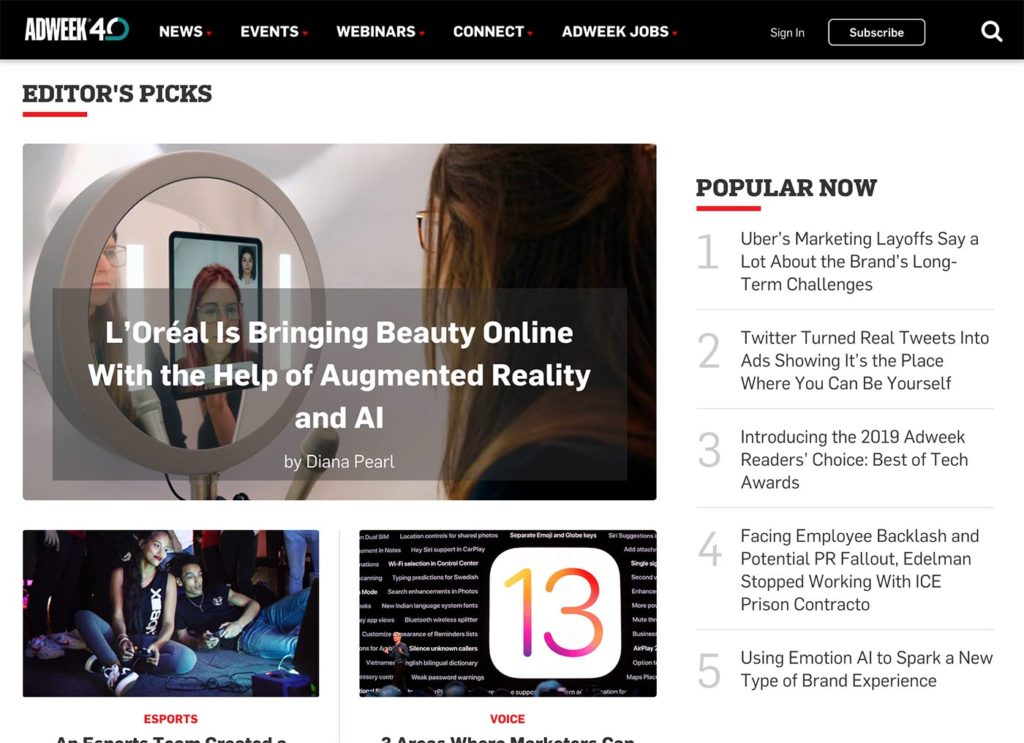 Adweek screenshot